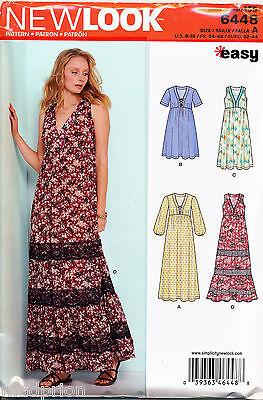 New Look Sewing Pattern 6448 Misses 6-18 Easy V-Neck Boho Style Dresses & Maxis