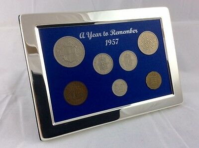 1957 Luxury Silver Framed Coin Year Gift Boxed Set, 60th Birthday/Anniversary