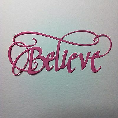 8 X'BELIEVE' Word/Phrase Die Cut Shapes-Fairy Fantasy-Candy Pink