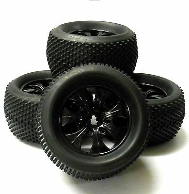 810011 1/8 Scale Off Road RC Monster Truck Wheels and Tyres x 4 Black Pin Tread