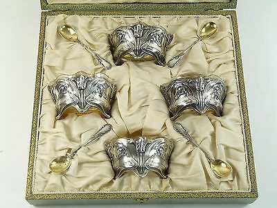 FRENCH Silver - 8 Piece Art Nouveau Salt Set - Ravinet Louis & D'enfert Charles