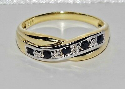 9ct Yellow Gold & Silver Blue Sapphire & Diamond Crossover Eternity Ring size Q