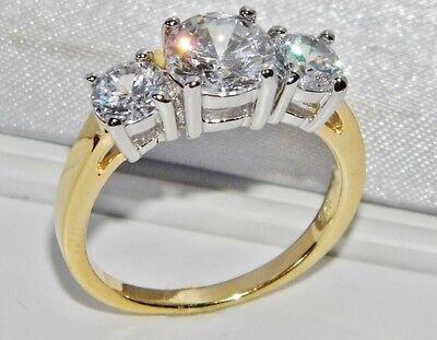 BEAUTIFUL 9 CT YELLOW GOLD & SILVER 1.75 CARAT 3 STONE ENGAGEMENT RING - size Q
