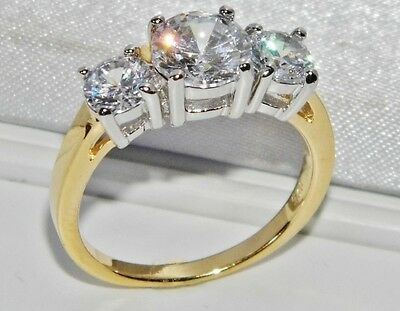 BEAUTIFUL 9 CT YELLOW GOLD & SILVER 1.75 CARAT 3 STONE ENGAGEMENT RING - size R
