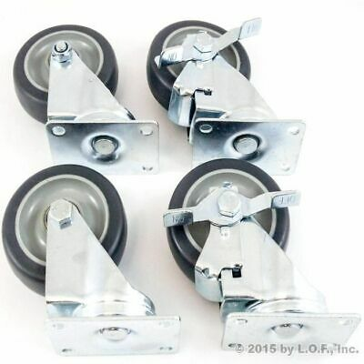 "Set of 4 Swivel Plate Casters with 4"" Polyurethane Wheels & 2 Side Brakes"