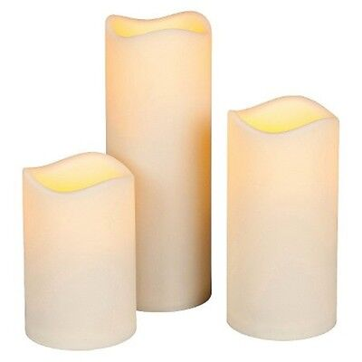 Set Of 3 Flameless Large Outdoor Resin Candles 5 Hour Timer Batteries Included