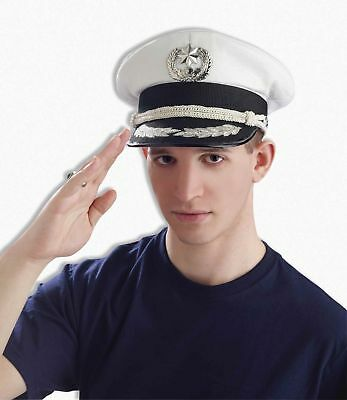 Admiral Soldier Navy White Officer Sailor Yacht Hat Cap Adult Costume Accessory