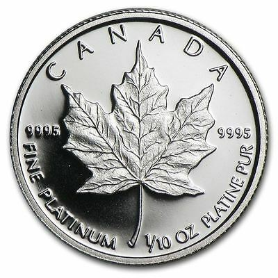 *Canada Platinum Maple 1/10oz Coin - 9995 Fine, Random Year, BU, Sealed*