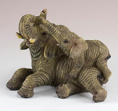 Mother and Baby Elephant Figurine Laying 3.5 Inch Long New