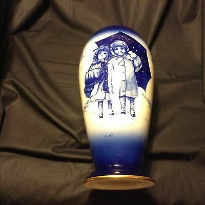 Lovely LORD NELSON WARE VASE numbered & signed COBALT BLUE & WHITE Staffordshire