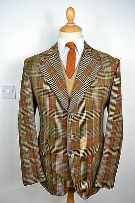 VINTAGE 1970's BROWN CHECK WORSTED WOOL & TERYLENE BLAZER JACKET LARGE 42 REG