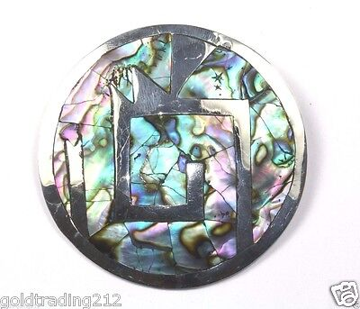 Vintage Taxco Mexico Abalone Design Brooch /pin 925 Sterling Bb 267