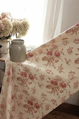 Vintage French faded floral c 1940's English country cottage look ~