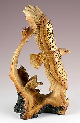 Eagles Carved Wood Look Figurine Resin 7 Inch High New In Box