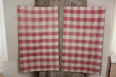 Antique French Vichy check  cafe curtains pink fabric c 1800