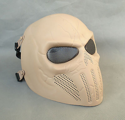 New Style Full Face Protection Sandybrown Paintball Airsoft Skull Mask HDM29