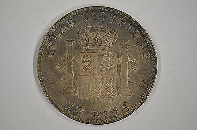 1897 SGV Philippines Silver 1 Peso EF / XF Toned