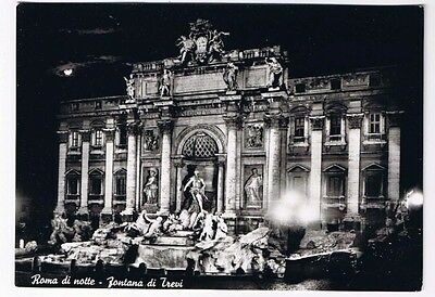 Italy Postcard Rome Fountain of Trevi at Night