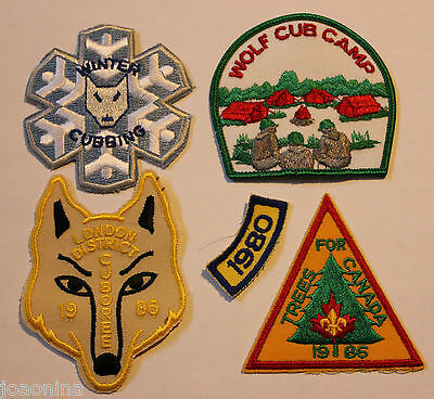 LOT of 5 VINTAGE 1980s WOLF CUB (BOY) SCOUTS CANADA CLOTH PATCHES - MINT