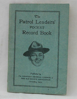 1950s early 60s BOY SCOUTS CANADA - PATROL LEADERS POCKET RECORD BOOK unwritten