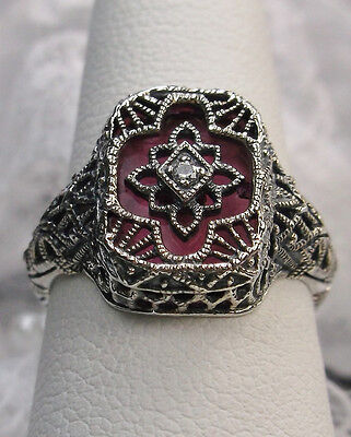 Art Deco Rose-Glass Solid Sterling Silver 1930's Filigree Ring {Made To Order}