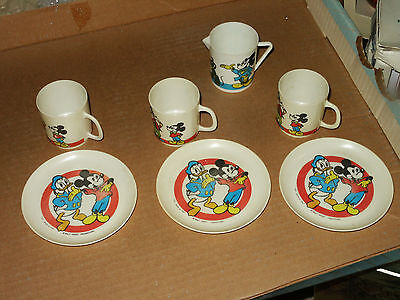Vintage Walt Disney Cup Saucer Tea Set by BUCI Made in Italy Mickey Mouse