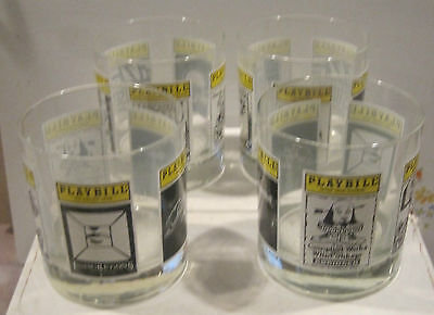 Playbill Glasses - Set of 4 - New - Smokey Joe's Cafe, Heiress + Many Others (B)