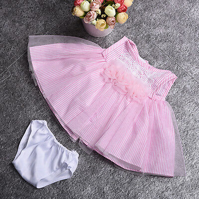 Pink Lace Flower Stripes Mesh Dress Clothes for 18inch American Girl Doll