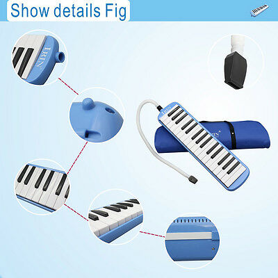 Blue 32Key Piano Style Melodica & Box Organ Accordion Mouth Piece Blow Key Board