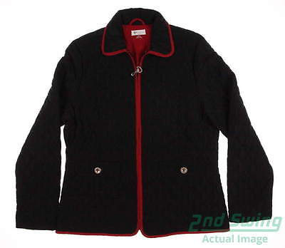 New Womens Greg Norman Full Zip Quilted Jacket Medium M Black MSRP $125 G2F4J102