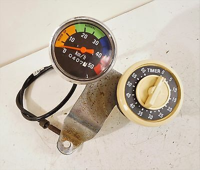 VINTAGE EXERCISE BIKE PARTS Speedometer KM/H & Timer Stationary Bicycle Speedo