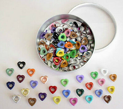 Scrapbooking Eyelets Lot of 135 Hearts plus Storage Tin 27 Clrs Stamping Crafts