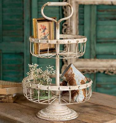 Shabby Chic Vintage Style Cottage 2 Tiered Wire Basket Stand/Tray & Handle,20''H