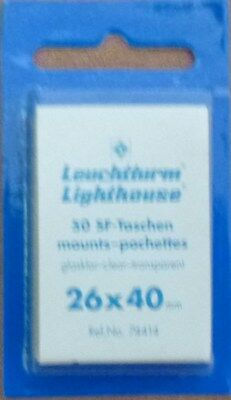 LIGHTHOUSE STAMP MOUNTS CLEAR Pack of 50 Individual 26mm x 40mm - Ref. No. 74414