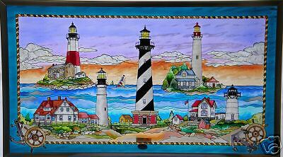 EAST COAST LIGHTHOUSES 23x13 SEA SHORE NAUTICAL COASTAL STAINED GLASS ART PANEL