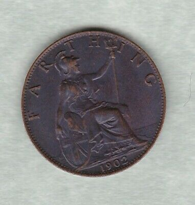1902 Edward Vii Bronze Farthing In Good Extremely Fine To Mint Condition