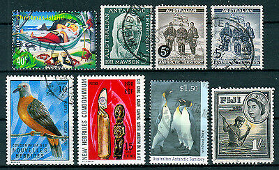 Christmas Island / Antarctic / FIJI / New Hebrides ☀ 8 used stamps ☀ unchecked