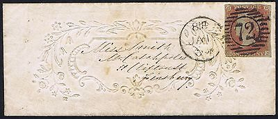 1854 1d Red GJ on Embossed Ladies Envelope The Minories