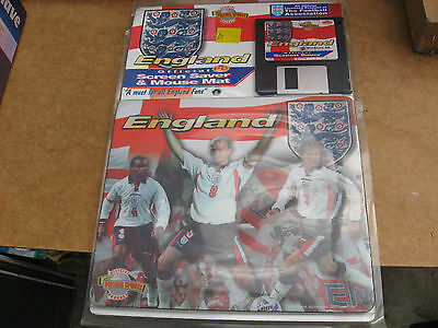 """Unused 1998 England World Cup Mouse Mat Mousemat+Screensaver On 3 1/2"""" Fd."""