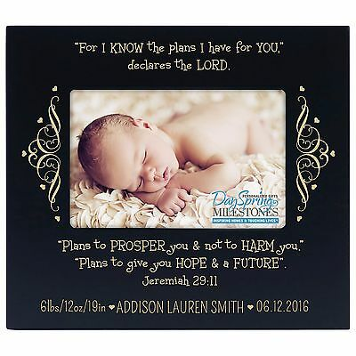 Baby Picture Frame Holds 4 x 6 Infant Personalized Photo