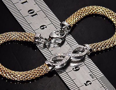 Beautiful 9ct Yellow Gold on Silver 0.15ct Infinity Ladies Bracelet