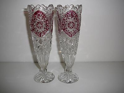 Vintage Pair of Cut Glass Vases with red overlay design Bohemia unusual 18.5cms