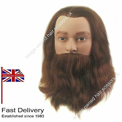 Male Gents Hairdressing Training Practice Head With Beard LEIF 100% HUMAN Hair
