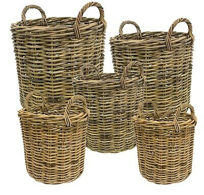 e2e Grey Kubu Rattan Wicker Strong Round Storage Display Kindling Log Basket