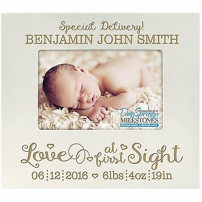 Personalized Baby Picture Frame Holds 4x6 Photo