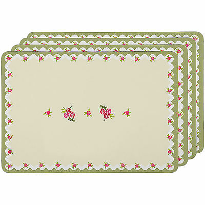 Set Of 4 Rose Cottage Placemats Floral Cork Dinner Table Mats Place Settings New