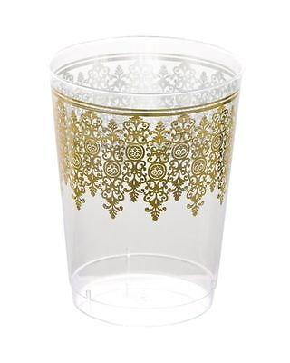Clear w/Gold Regal Border 10oz Disposable Plastic Tumblers Cups Wedding NEW