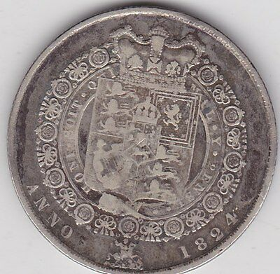 1824 George Iiii Silver Halfcrown In Used Fine Or Better Condition