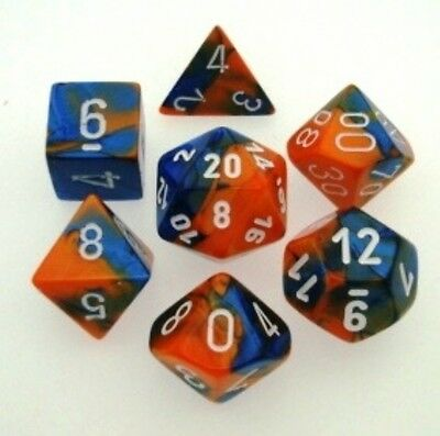 Set 7 Dice CHESSEX Gemini Blue Orange white 26452 dice Blu Orange white dice