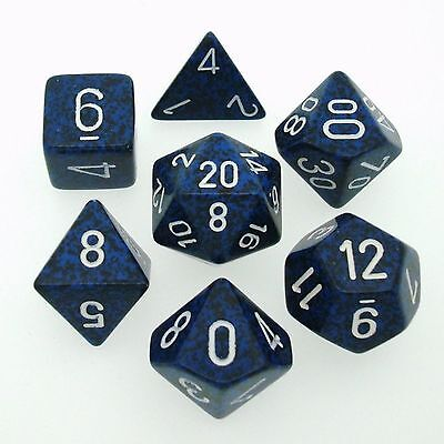 7 Die Set Chessex SPECKLED STEALTH white 25346 SPECKLED stealth white Dice D&D